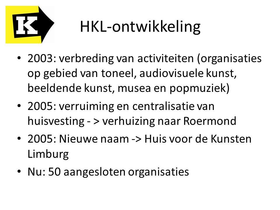 HKL-ontwikkeling 2003: verbreding van activiteiten (organisaties op gebied van toneel, audiovisuele kunst, beeldende kunst, musea en popmuziek)