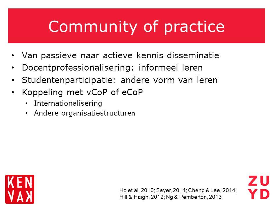 Community of practice Van passieve naar actieve kennis disseminatie