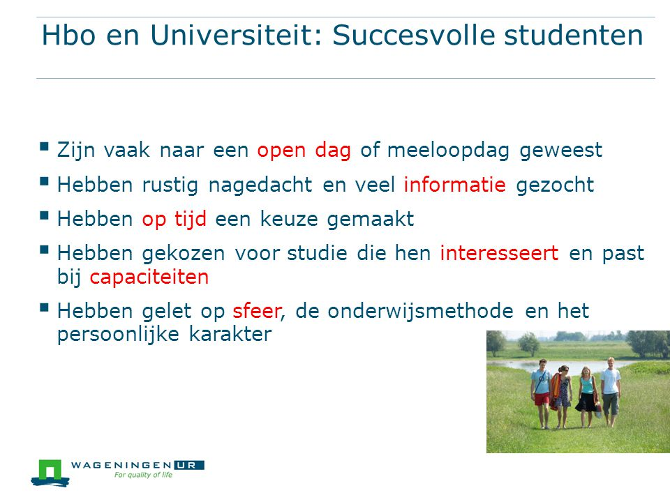 Hbo en Universiteit: Succesvolle studenten