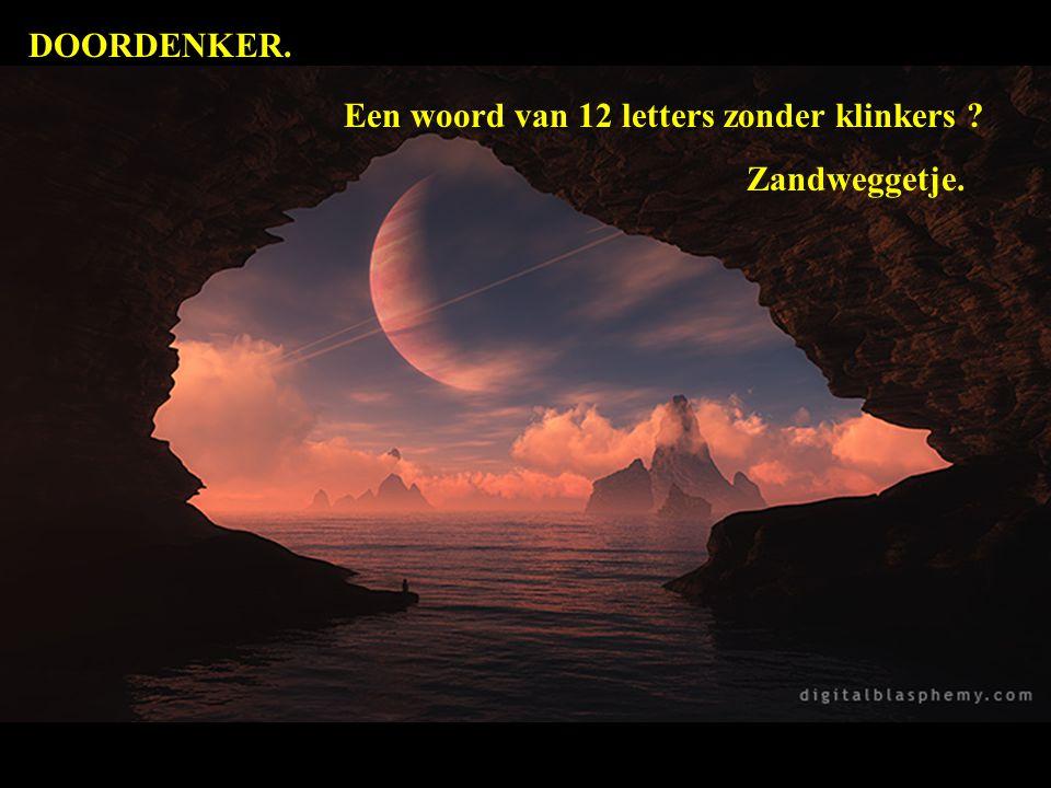 DOORDENKER. Een woord van 12 letters zonder klinkers Zandweggetje.