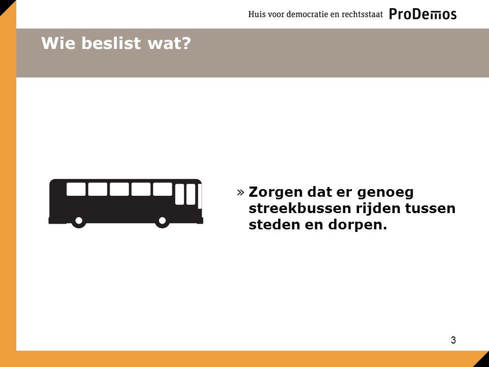Wie beslist wat Zorgen dat er genoeg streekbussen rijden tussen steden en dorpen.