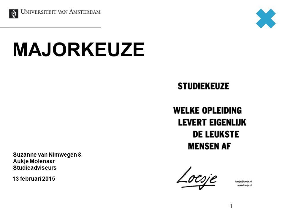 MAJORKEUZE 13 februari 2015 Suzanne van Nimwegen & Aukje Molenaar