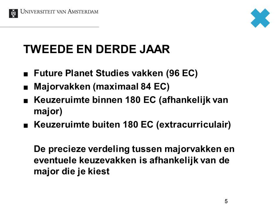 TWEEDE EN DERDE JAAR Future Planet Studies vakken (96 EC)