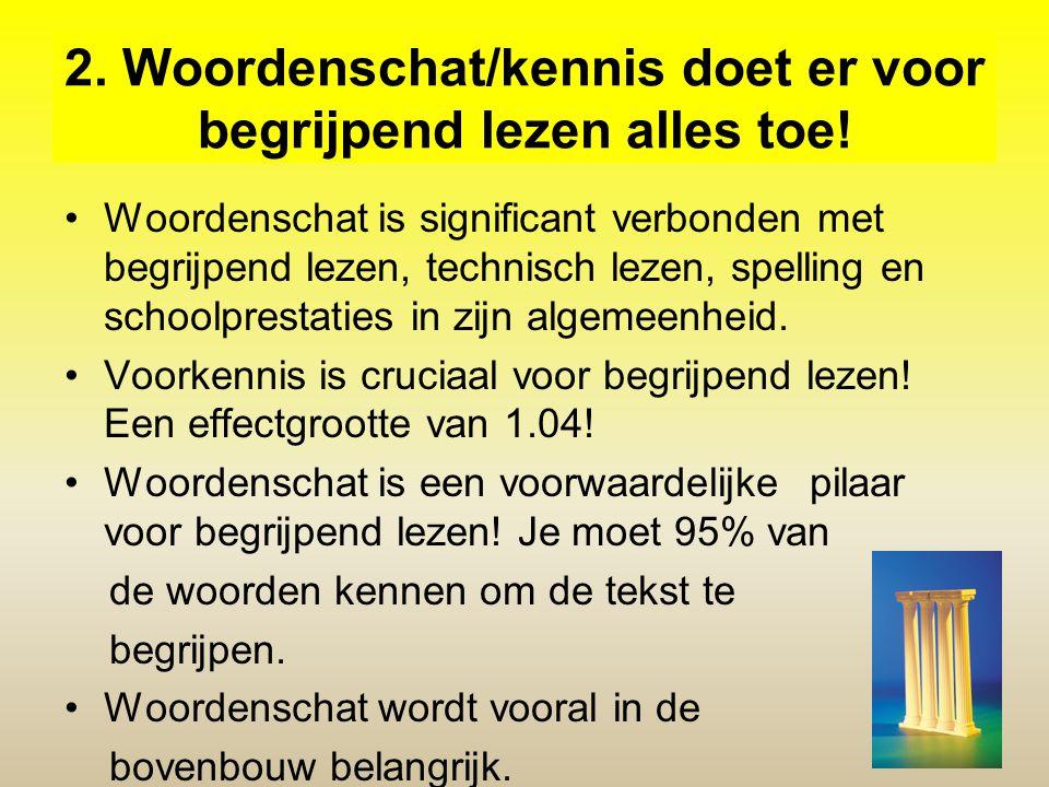 2. Woordenschat/kennis doet er voor begrijpend lezen alles toe!