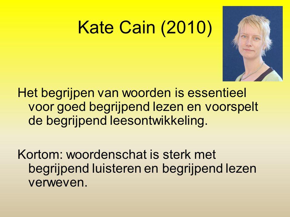 Kate Cain (2010) Het begrijpen van woorden is essentieel voor goed begrijpend lezen en voorspelt de begrijpend leesontwikkeling.