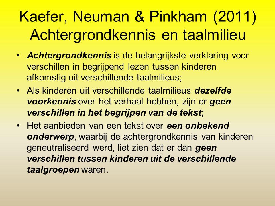 Kaefer, Neuman & Pinkham (2011) Achtergrondkennis en taalmilieu