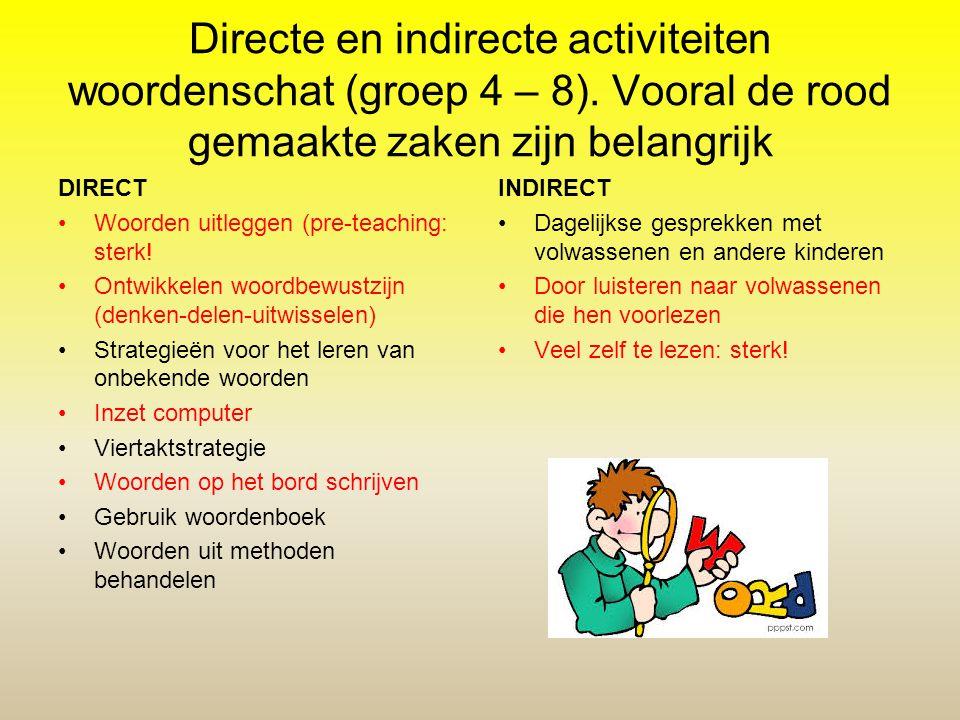 Directe en indirecte activiteiten woordenschat (groep 4 – 8)