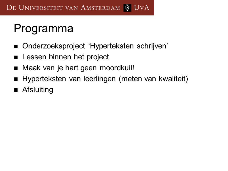 Programma Onderzoeksproject 'Hyperteksten schrijven'