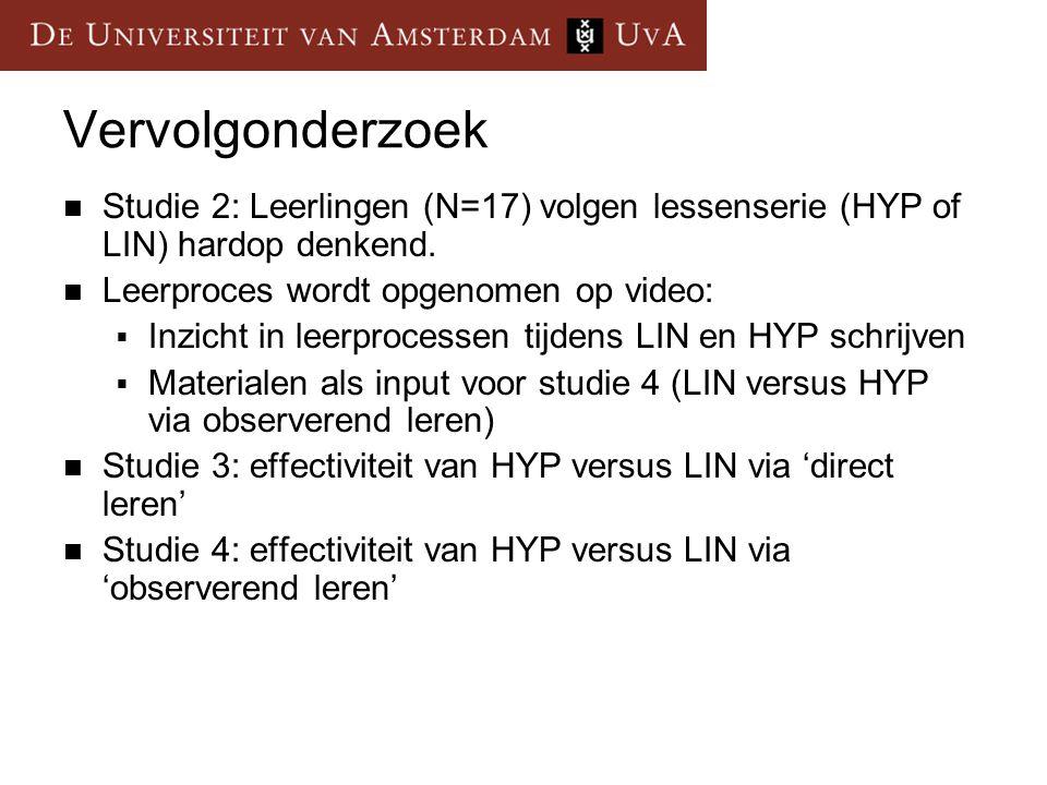Vervolgonderzoek Studie 2: Leerlingen (N=17) volgen lessenserie (HYP of LIN) hardop denkend. Leerproces wordt opgenomen op video: