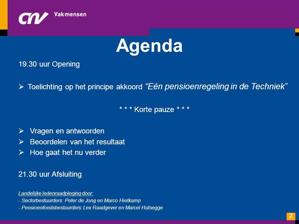 Agenda 19.30 uur Opening. Toelichting op het principe akkoord Eén pensioenregeling in de Techniek