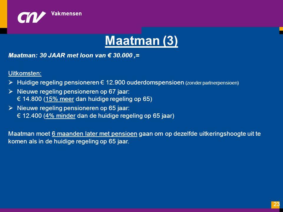 Maatman (3) Maatman: 30 JAAR met loon van € 30.000 ,= Uitkomsten: