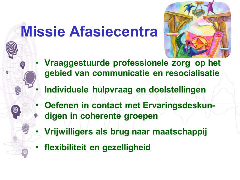 Missie Afasiecentra Vraaggestuurde professionele zorg op het gebied van communicatie en resocialisatie.