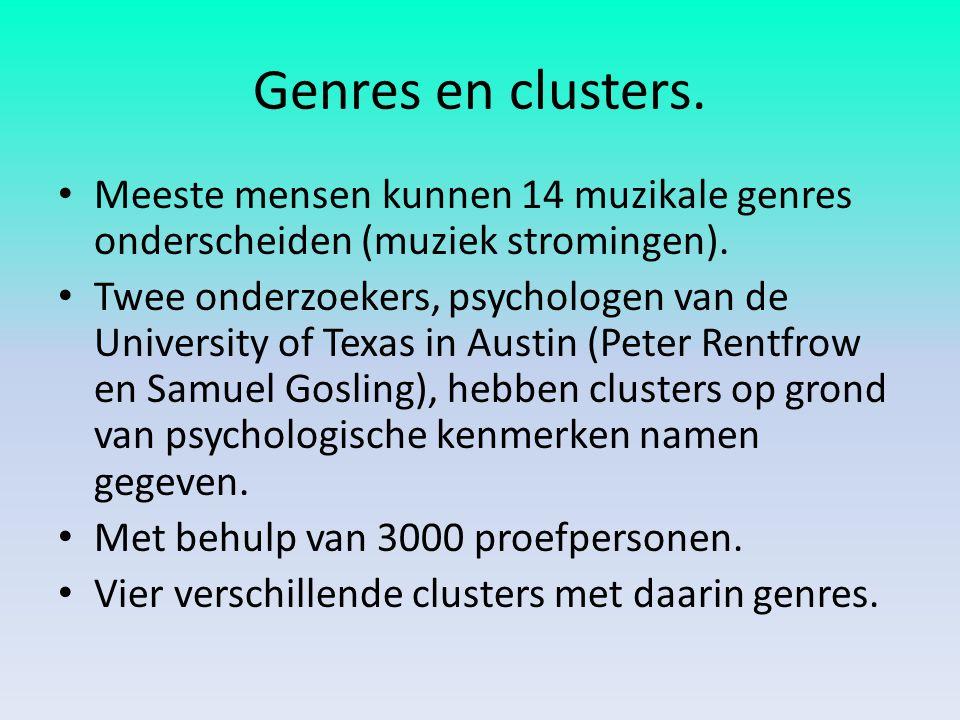 Genres en clusters. Meeste mensen kunnen 14 muzikale genres onderscheiden (muziek stromingen).