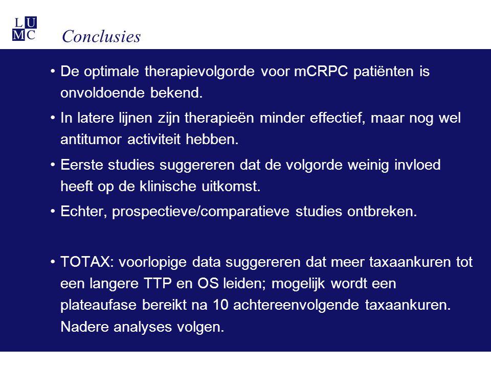 Conclusies De optimale therapievolgorde voor mCRPC patiënten is onvoldoende bekend.