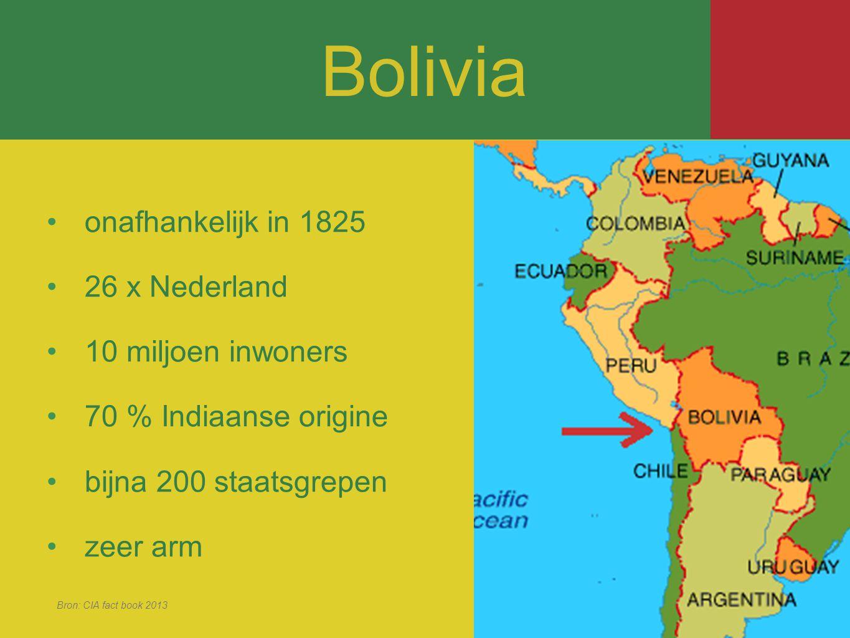 Bolivia onafhankelijk in 1825 26 x Nederland 10 miljoen inwoners