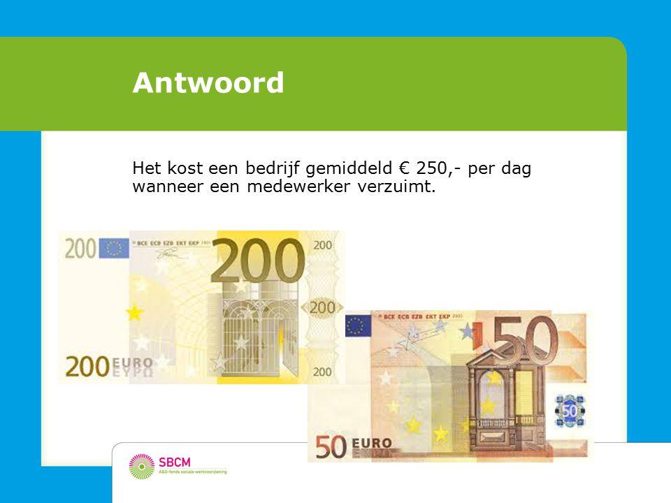 Antwoord Het kost een bedrijf gemiddeld € 250,- per dag wanneer een medewerker verzuimt.