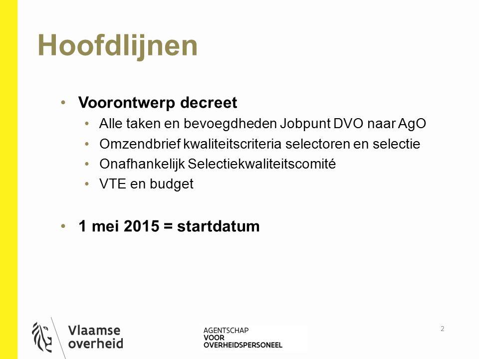 Hoofdlijnen Voorontwerp decreet 1 mei 2015 = startdatum