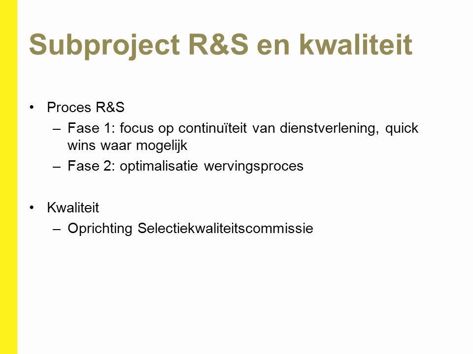 Subproject R&S en kwaliteit