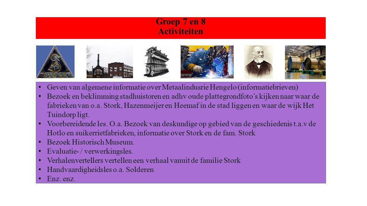 Groep 7 en 8 Activiteiten Geven van algemene informatie over Metaalindusrie Hengelo (informatiebrieven)
