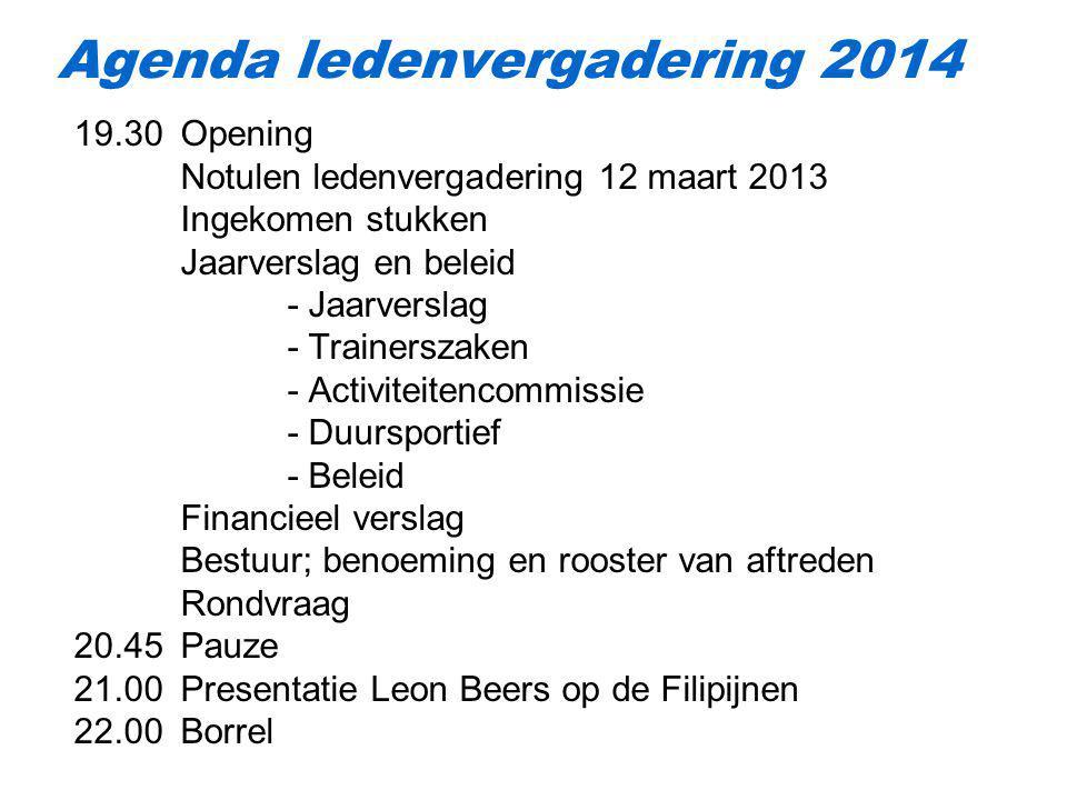 Agenda ledenvergadering 2014