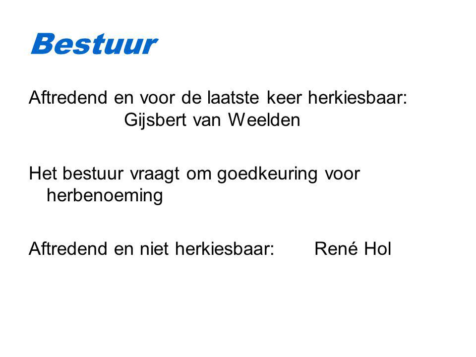 Bestuur Aftredend en voor de laatste keer herkiesbaar: Gijsbert van Weelden. Het bestuur vraagt om goedkeuring voor herbenoeming.