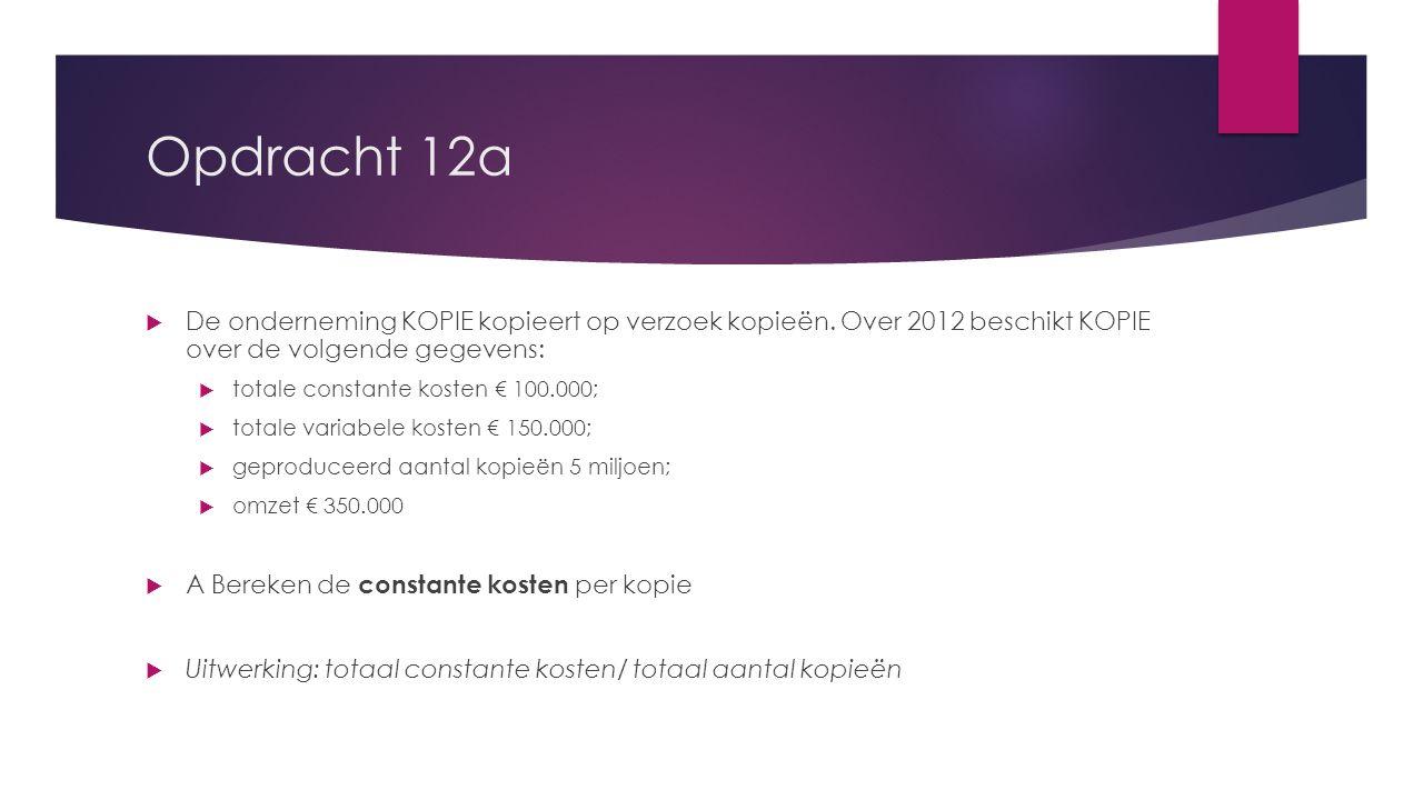 Opdracht 12a De onderneming KOPIE kopieert op verzoek kopieën. Over 2012 beschikt KOPIE over de volgende gegevens:
