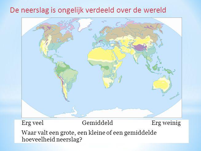 De neerslag is ongelijk verdeeld over de wereld