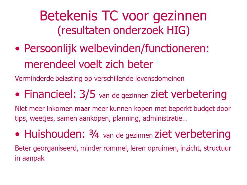 Betekenis TC voor gezinnen (resultaten onderzoek HIG)