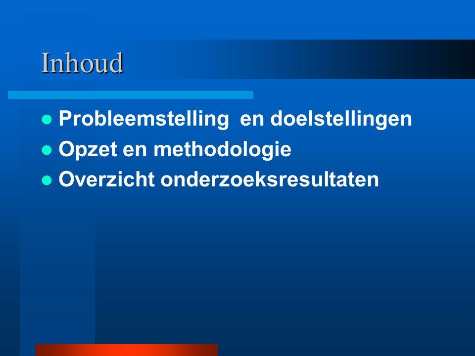 Inhoud Probleemstelling en doelstellingen Opzet en methodologie