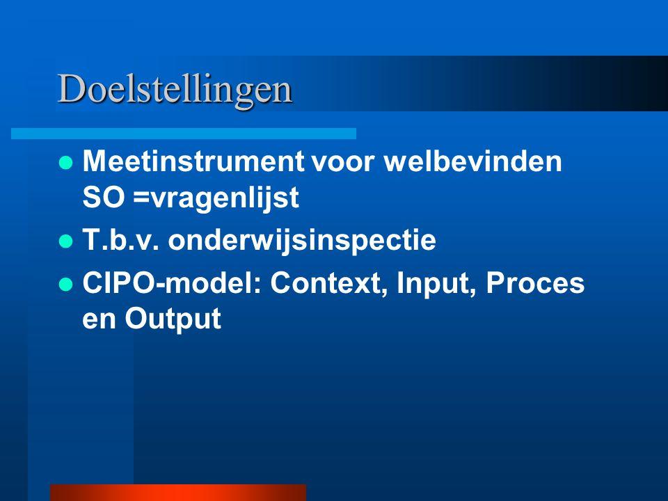 Doelstellingen Meetinstrument voor welbevinden SO =vragenlijst