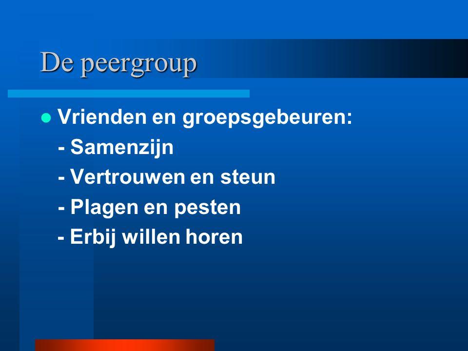 De peergroup Vrienden en groepsgebeuren: - Samenzijn