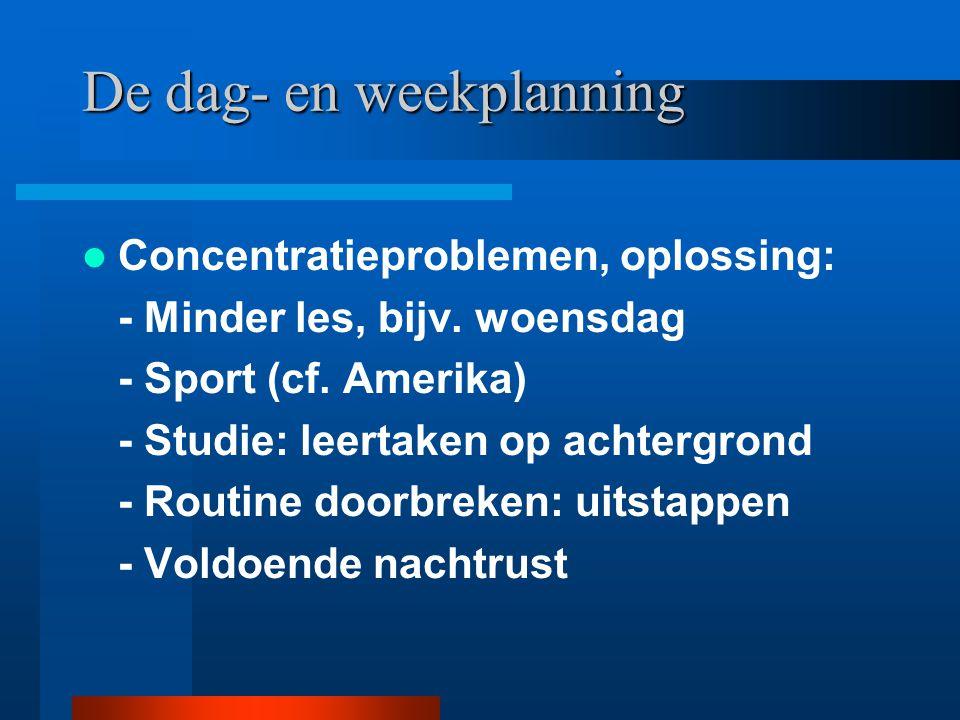 De dag- en weekplanning