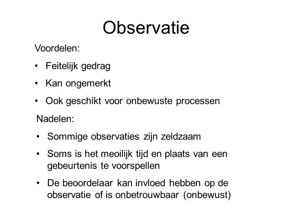 Observatie Voordelen: Feitelijk gedrag Kan ongemerkt