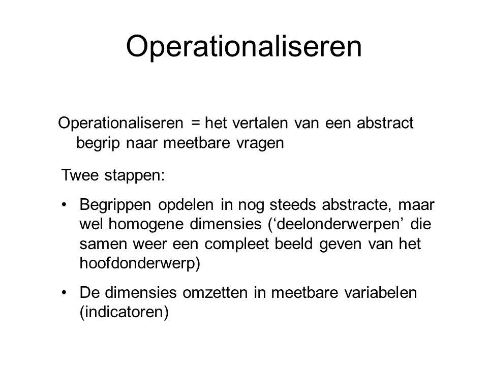 Operationaliseren Operationaliseren = het vertalen van een abstract begrip naar meetbare vragen. Twee stappen: