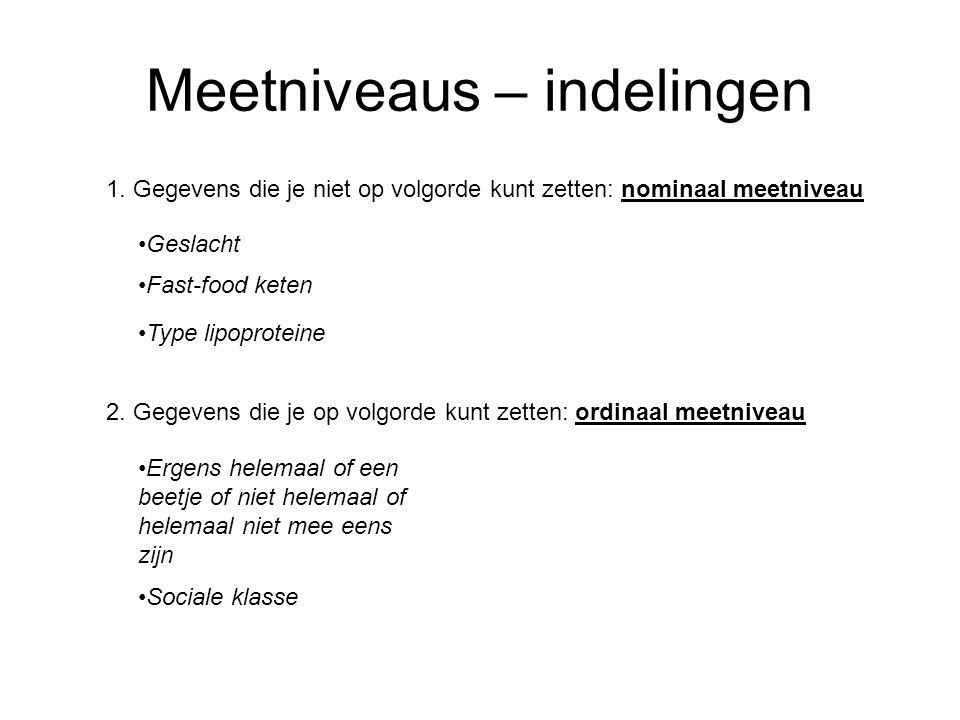 Meetniveaus – indelingen