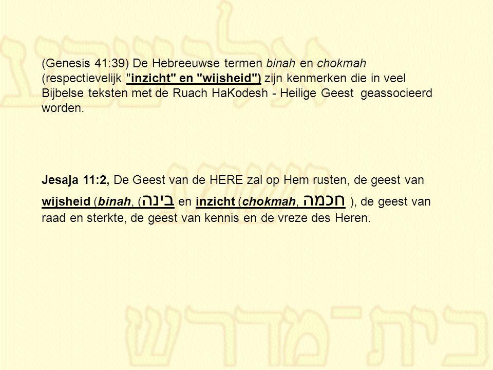 (Genesis 41:39) De Hebreeuwse termen binah en chokmah (respectievelijk inzicht en wijsheid ) zijn kenmerken die in veel Bijbelse teksten met de Ruach HaKodesh - Heilige Geest geassocieerd worden.