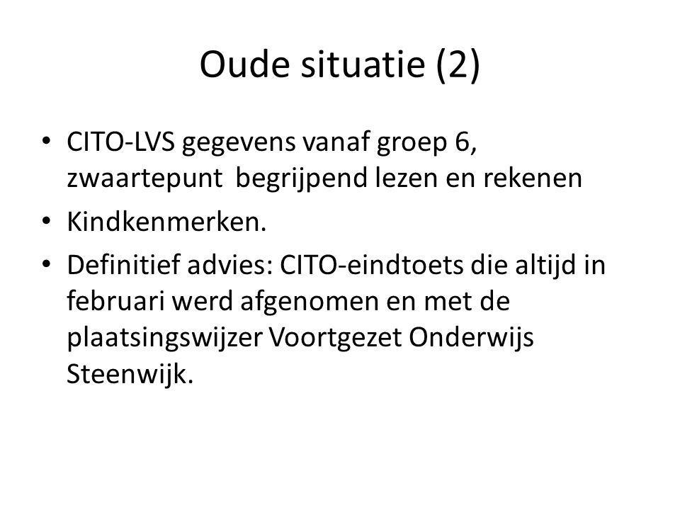 Oude situatie (2) CITO-LVS gegevens vanaf groep 6, zwaartepunt begrijpend lezen en rekenen. Kindkenmerken.