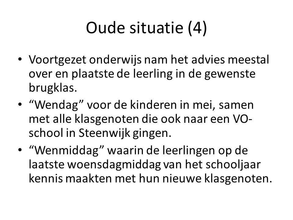 Oude situatie (4) Voortgezet onderwijs nam het advies meestal over en plaatste de leerling in de gewenste brugklas.