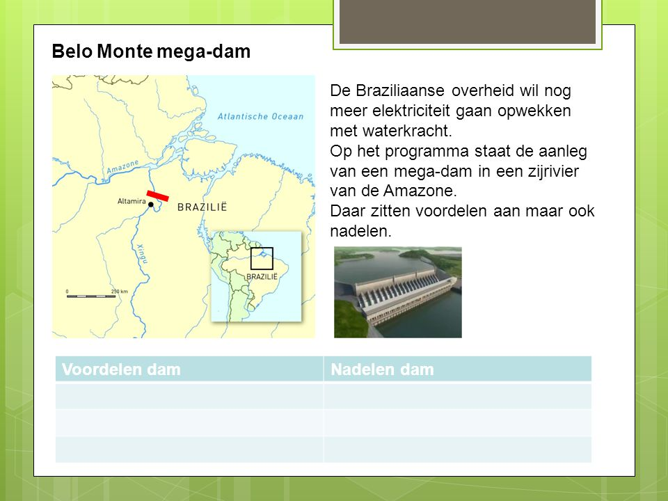 Belo Monte mega-dam De Braziliaanse overheid wil nog meer elektriciteit gaan opwekken met waterkracht.