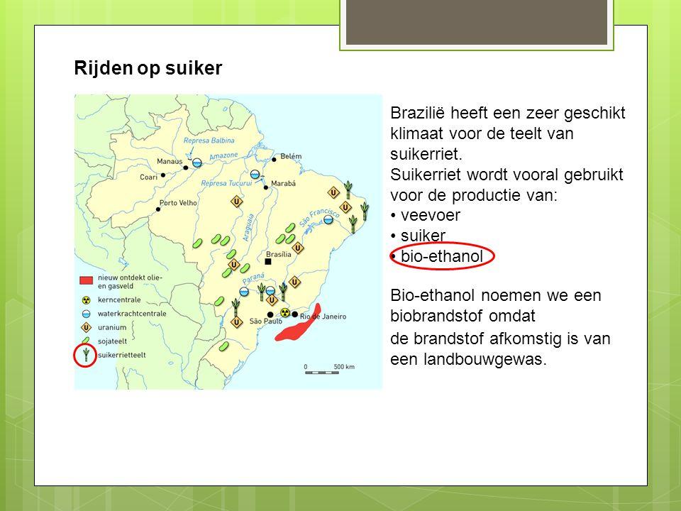 Rijden op suiker Brazilië heeft een zeer geschikt klimaat voor de teelt van suikerriet. Suikerriet wordt vooral gebruikt voor de productie van: