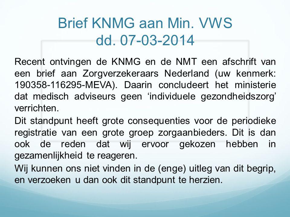 Brief KNMG aan Min. VWS dd. 07-03-2014