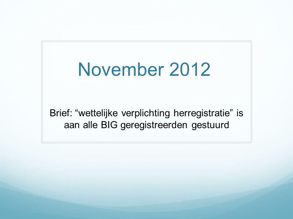 November 2012 Brief: wettelijke verplichting herregistratie is aan alle BIG geregistreerden gestuurd.