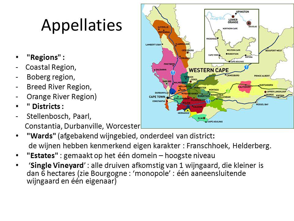 Appellaties Regions : - Coastal Region, Boberg region,