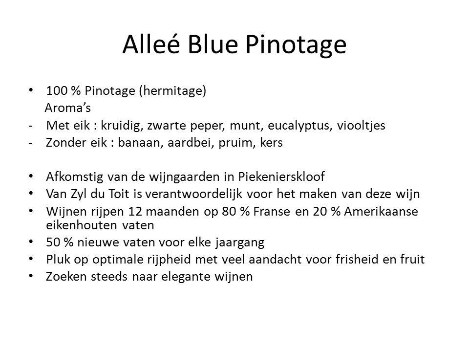 Alleé Blue Pinotage 100 % Pinotage (hermitage) Aroma's