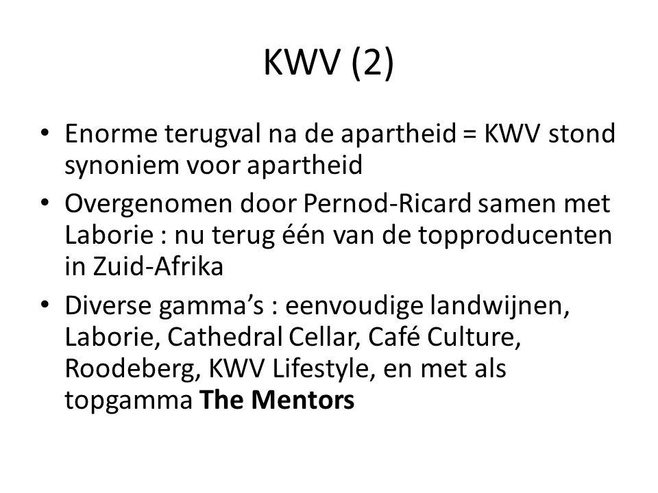 KWV (2) Enorme terugval na de apartheid = KWV stond synoniem voor apartheid.