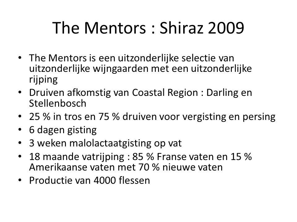 The Mentors : Shiraz 2009 The Mentors is een uitzonderlijke selectie van uitzonderlijke wijngaarden met een uitzonderlijke rijping.