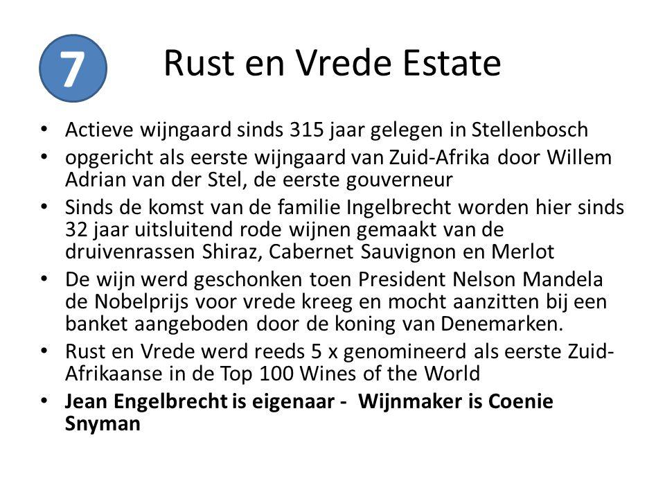 Rust en Vrede Estate 7. Actieve wijngaard sinds 315 jaar gelegen in Stellenbosch.