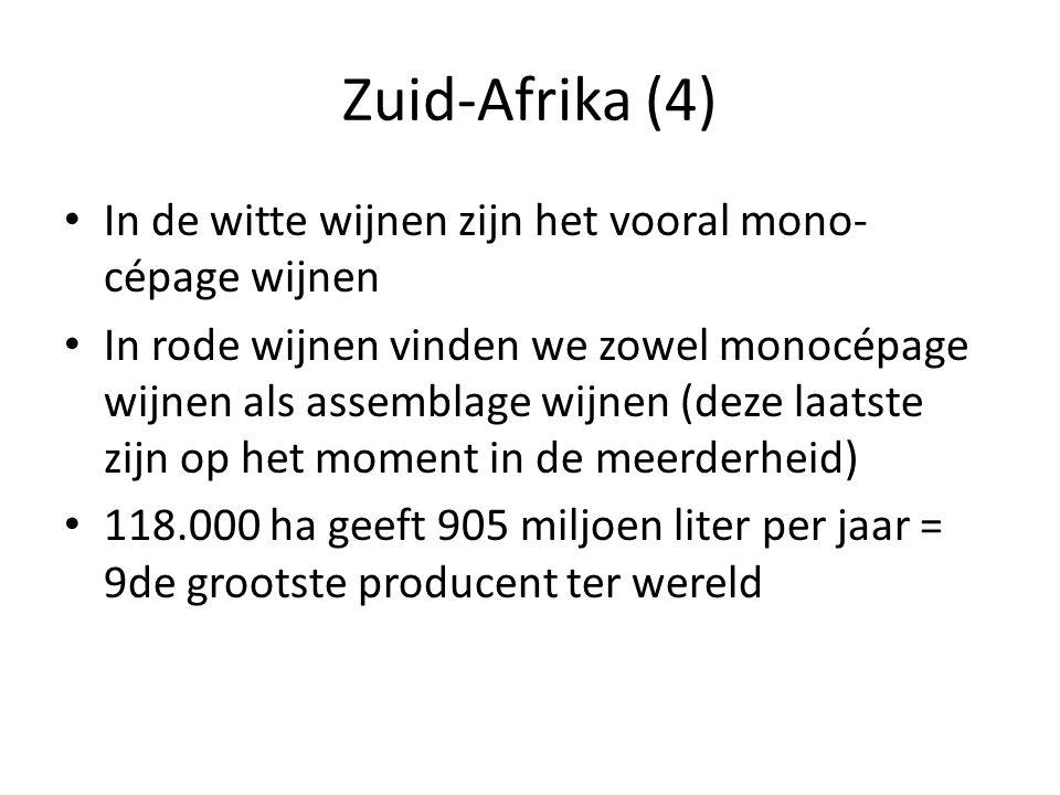 Zuid-Afrika (4) In de witte wijnen zijn het vooral mono-cépage wijnen