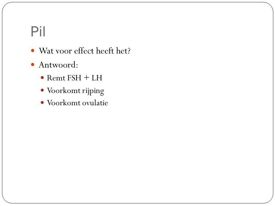 Pil Wat voor effect heeft het Antwoord: Remt FSH + LH