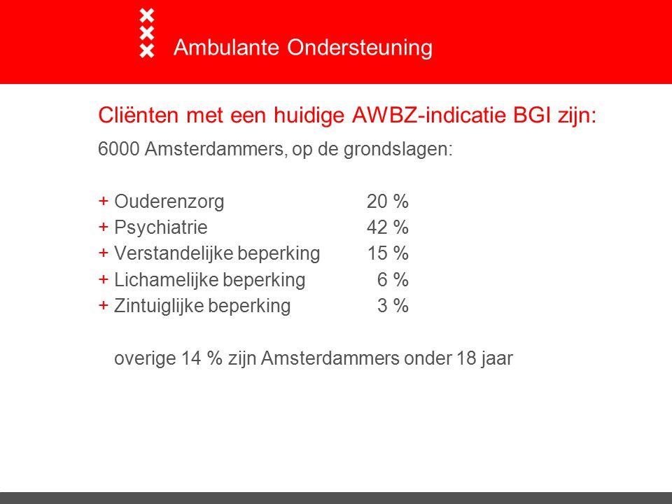 Cliënten met een huidige AWBZ-indicatie BGI zijn: